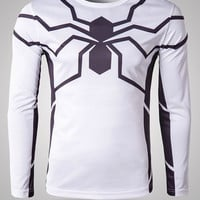 White Spider-Man Print Long Sleeve T-Shirt