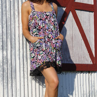Floral Print Button Up Babydoll Dress