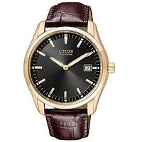 Citizen Mens Eco-Drive - Black Dial - Brown Leather Strap - Rose Gold-Tone