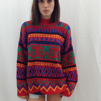 Vintage 80's Sweater- Red, Green, Blue