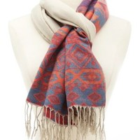 Aztec Print Fringe Scarf by Charlotte Russe - Ivory Combo