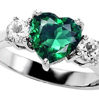 2.60 cttw Original Star K(tm) 925 Created Heart Shape Emerald Engagement Ring in .925 Sterling Silver Size 7