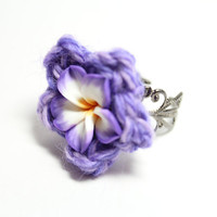 Purple plumeria ring. Grape colored flower crochet ring.