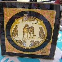 DCCKNY1 Versace Silk Scarf Cheetahs & Tigers Framed & Matted Pink Gold Black 24' Square