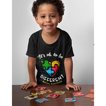 Kids Autism T Shirt Ok To Be Different Autism Shirt Heart Autism Cute Autism Awareness Shirt