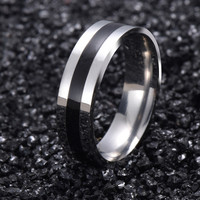 Titanium Band Rings 18K White Gold Brushed Wedding 316L Stainless Steel Solid Ring Men Women Gift G15