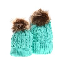 Mom Baby Hat Caps Warm Kids Winter Hats For Girls Raccoon Fur Bobble Beanie Cotton Knitted Parent-child Hats For Girls Mom Gift