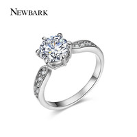 EWBARK Round Ring Engagement Rings 6 Prongs Setting Cubic Zirconia Anel Jewelry For Women Love Bague Anillos Mujer Gift