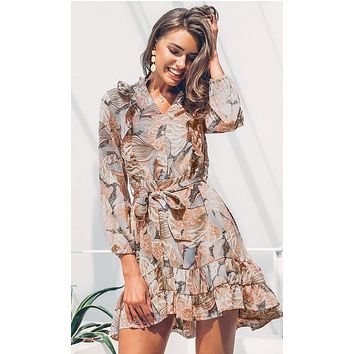 Make It Last Multicolor Floral Pattern Long Sleeve V Neck Button Tie Waist Ruffle A Line High Low Casual Mini Dress