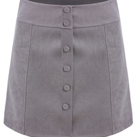 Grey A-Line Mini Skirt