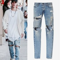 Zippers Rinsed Denim Jeans [10368007171]