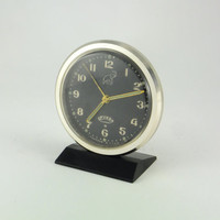 SALE Working Vintage Russian Mechanical Alarm Clock from Soviet Union Period 11 Jewels Black Golden Toned, CCCP