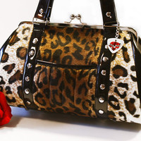 Rockabilly Leopard Handbag, Faux Fur and Black Gloss Vinyl, Retro Purse - MADE TO ORDER