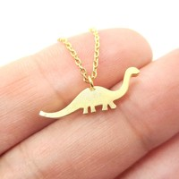 Brontosaurus Dinosaur Silhouette Prehistoric Animal Themed Charm Necklace in Gold
