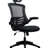 Techni Mobili Executive High Back Chair with Headrest - Grey and Black