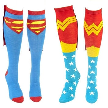 Comics Superman and Wonder Woman Couple Caped Knee Socks = 1946581572
