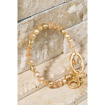 Dana Shimmery Glass Bead Key Ring Bracelet