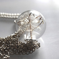 Dandelion Necklace Make A Wish 08 Glass by NaturalPrettyThings