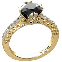 Victorian Inspired 14k Yellow Gold Engagement Ring, Wedding Ring With 1.20ct VVS Natural Onyx Center  W1BK14Y