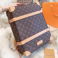 LV  Louis Vuitton Fashion New Monogram Print Leather School Bag Book Backpack Bag