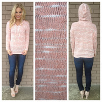 Coral Light Knit Hoodie Sweater