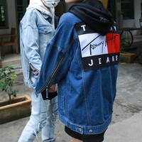 """""""Tommy Jeans"""" Women Casual Personality Fashion Letter Pattern Patch Zip Long Sleeve Loose Denim Cardigan Coat"""