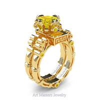 Art Masters Caravaggio 14K Yellow Gold 1.5 Ct Princess Yellow Sapphire Engagement Ring Wedding Band Set R627S-14KYGYS