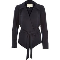 River Island Womens Navy blue cropped drape trench jacket