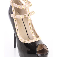Black T-Strap Studded Peep Toe High Heels Patent Faux Leather