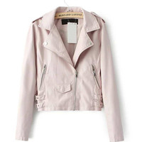 Pink Leather Moto Jacket