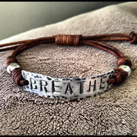 BREATHE ID Bracelet, silver, leather, Hand Stamped, Inspirational jewelry, bracelet with words,