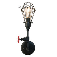 Cage Vintage Valve Pipe Wall Sconce – Black
