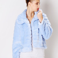 Light Blue Peter Pan Collar with Striped Accent Faux Fur Jacket