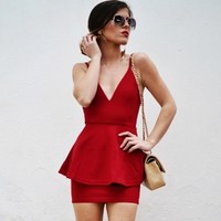 Peplum Style Cocktail Dress With Narrow Straps