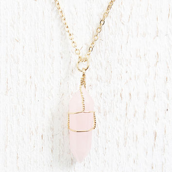 Pink Wire Wrapped Necklace