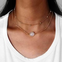 New Natural Crystal 2 Layer Choker Necklace Gold Color Opal Stone Pendant Necklace for Women Jewelry   171213