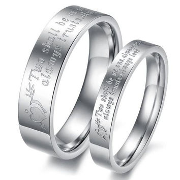 """(Male+Female)Silver Arrow&Heart """"Two shall be as one. Always protects. Always trust. Always love"""" 316 l Stainless Steel Wedding Band Anniversary/Engagement/Promise/Couple Ring Best Gift! = 1929824900"""