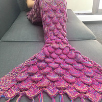 Hot Pink Multi Mermaid Tail Cozy Blanket Soft Warm Hand Crocheted