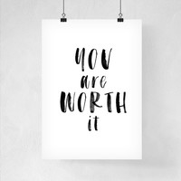Wall Art Dorm Decor You Are Worth It Printable Art Back to School Wall Art Print Poster Dorm Decor Wall Art
