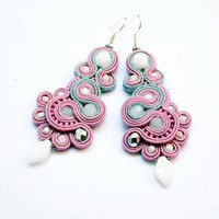 Soutache earrings. Soutache jewelry. Extravagant dangle earrings. Soutache Handmade  earrings.
