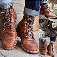 Women's Motorbike Boots Lace Up Ankle Boots