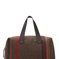 Paul Smith Brown And Red Plaid Wool Maharam Duffle Bag