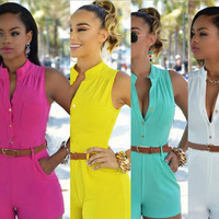 V-neck Sleeveless Empire Cocktail Short Bodycon Belt Jumpsuits