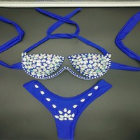2018 venus vacation new style diamond bikini set sexy women swimwear push up beachwear rhinestone biquini summer bathing suit