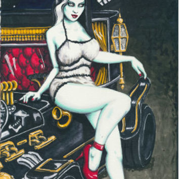 Munster Mobile and Pin Up Lilly Munster stretched canvas