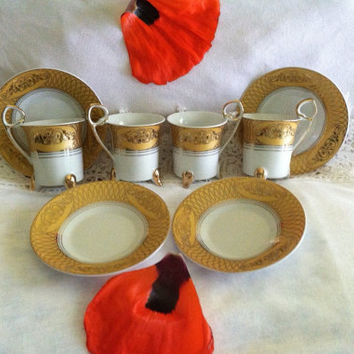 Gold and White Demitasse Cups Saucers Vintage Indonesia Material Jakarta 24CC Gold Gilded Scroll Design Mini Demitasse Cup Set 4 Sets