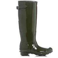 Hunter Tall Adjustable Back - Gloss Dark Olive Tall Rain Boot