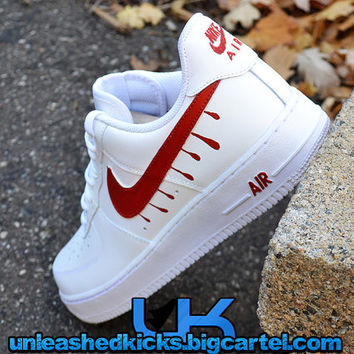 Custom Drip Nike Air Force 1s Red From Unleashedkustoms On Etsy