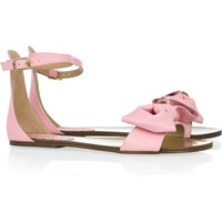 RED Valentino|Bow-embellished leather sandals|NET-A-PORTER.COM