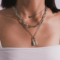 Hip Hop Multi Layer Lock Pendant Necklace